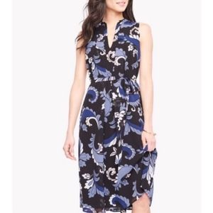 Ann Taylor Keyhole Blue Print Dress Size 8 NEW